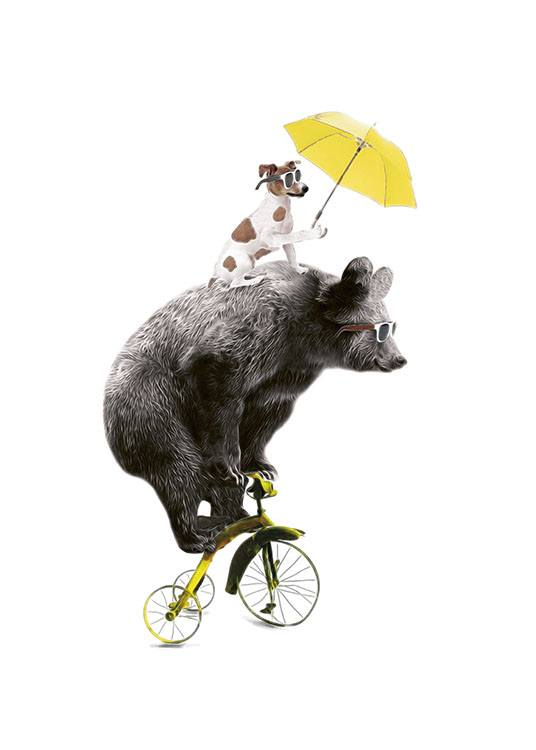 Bear On Yellow Bike, Poster / Kids posters at Desenio AB (7830)