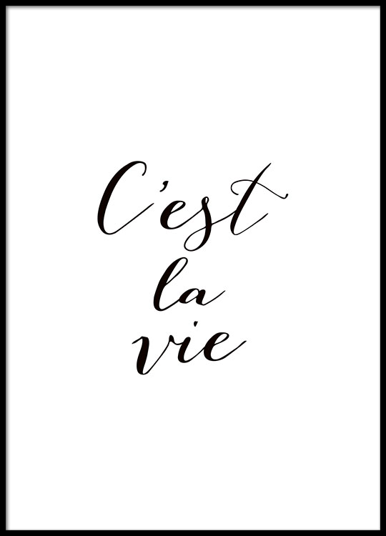 typography poster with french quote black and white. Black Bedroom Furniture Sets. Home Design Ideas