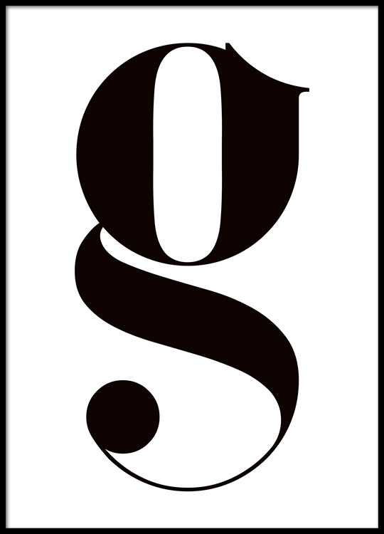 Poster with small letter g typography in black and white black and white letter print with a small g typography altavistaventures Choice Image