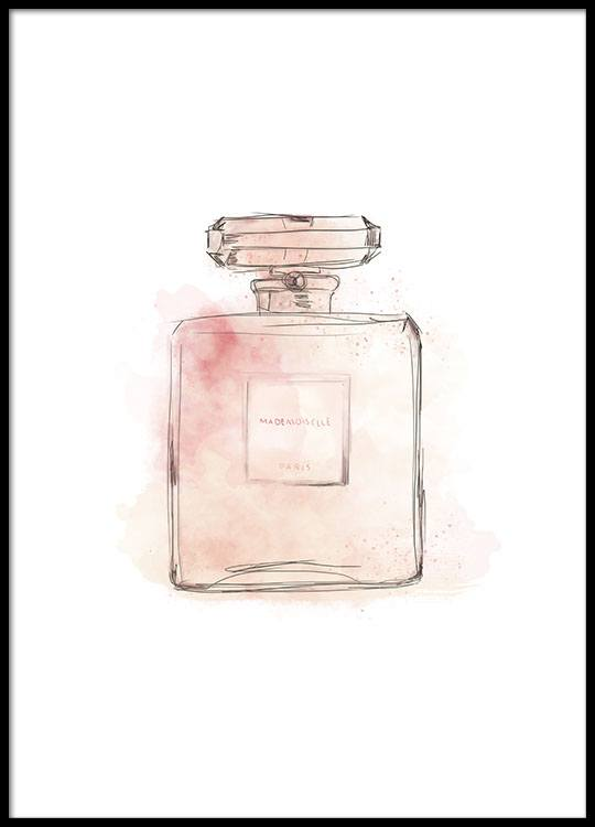 Poster with illustration of pink perfume bottle