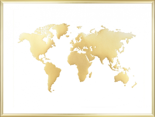 World Map Poster, Gold