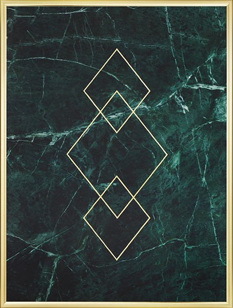 Green And Gold Marble : Gold poster with triangles on green marble