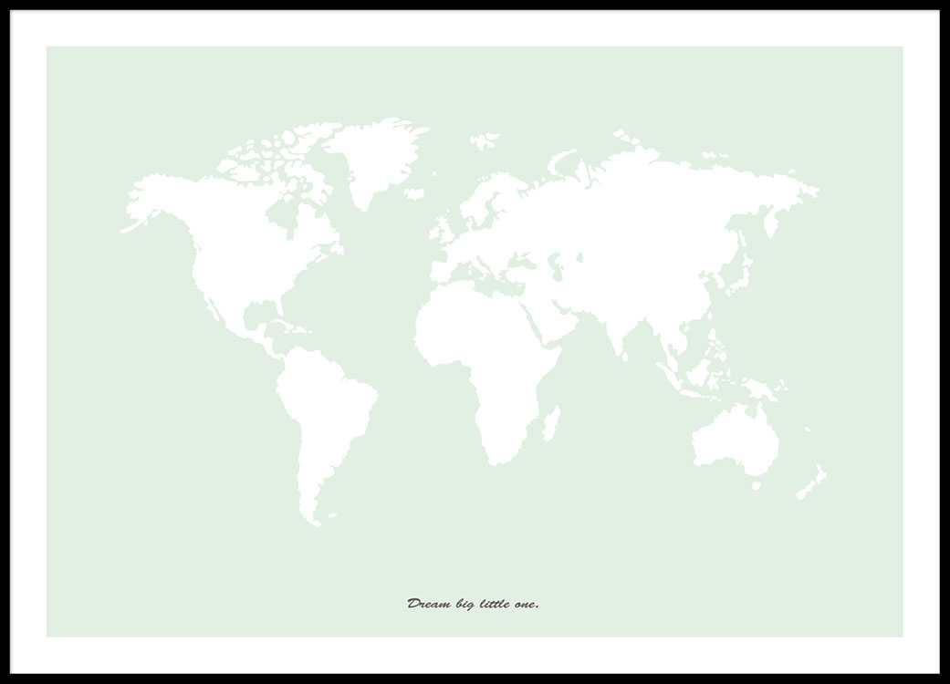 World map poster in green | Art posters online