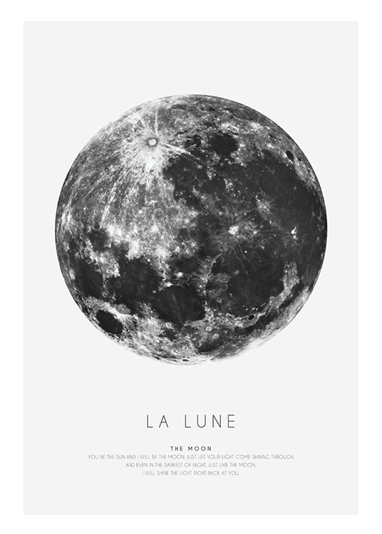 – Black and white graphic print with a black and white moon and text underneath it