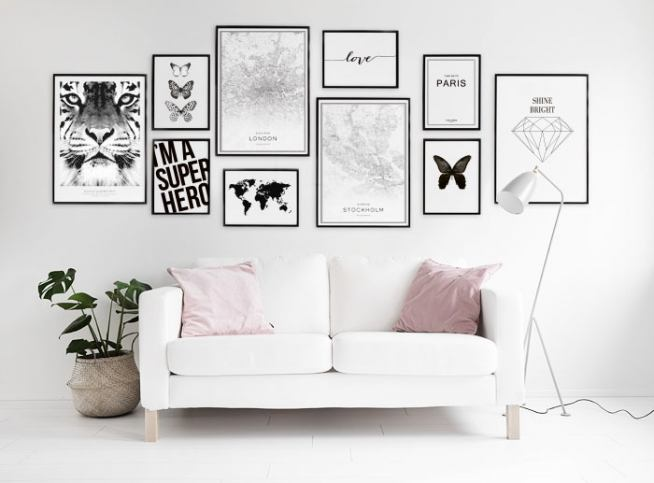 Black and white poster with butterflies Cleanly designed prints ...