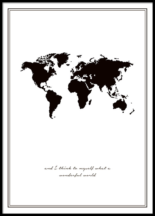 poster with world map black and white posters online. Black Bedroom Furniture Sets. Home Design Ideas