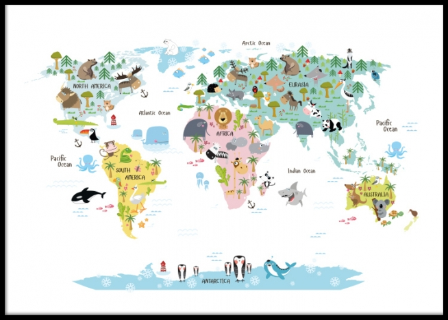 kids 39 poster with world map with animals nice posters for. Black Bedroom Furniture Sets. Home Design Ideas