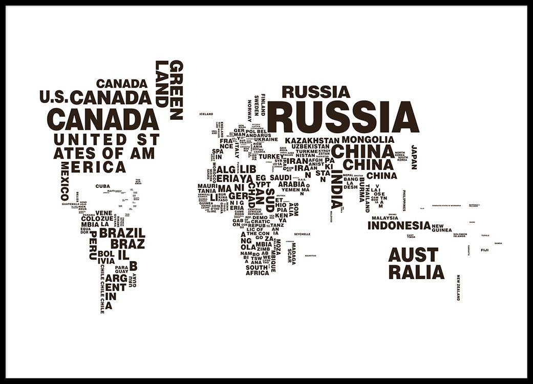 Poster of a world map posters with maps black and white prints world map poster with text black and white posters and prints gumiabroncs