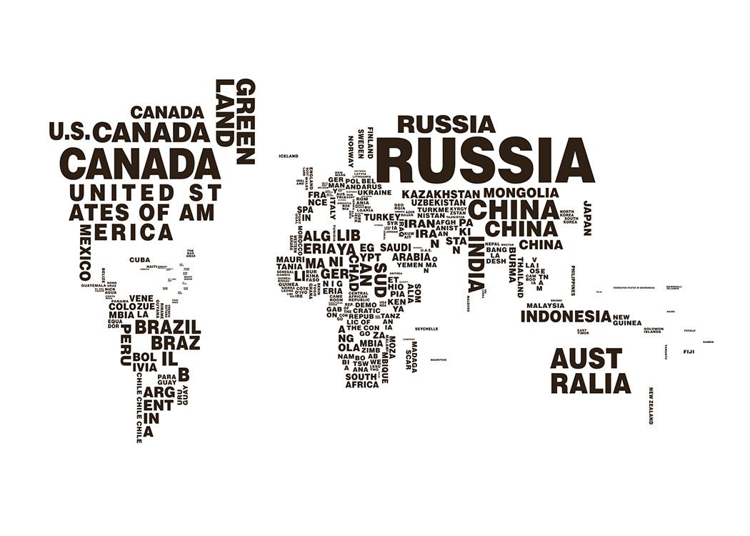 Poster Of A World Map Posters With Maps Black And White Prints