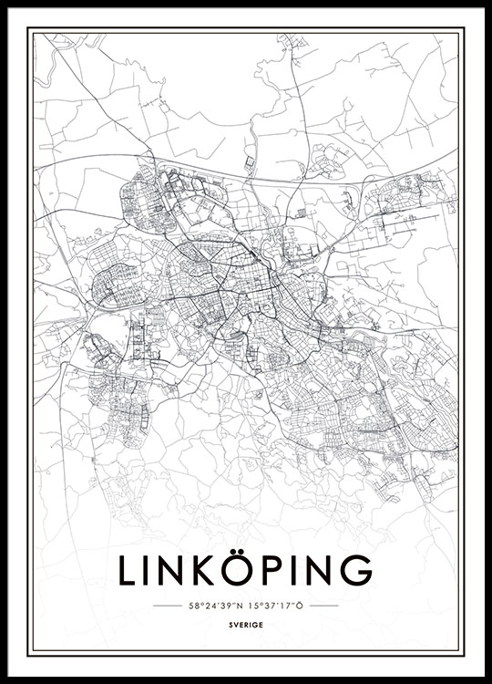 linkøping sverige kart Poster with Linköping map | Posters of cities | Posters online linkøping sverige kart