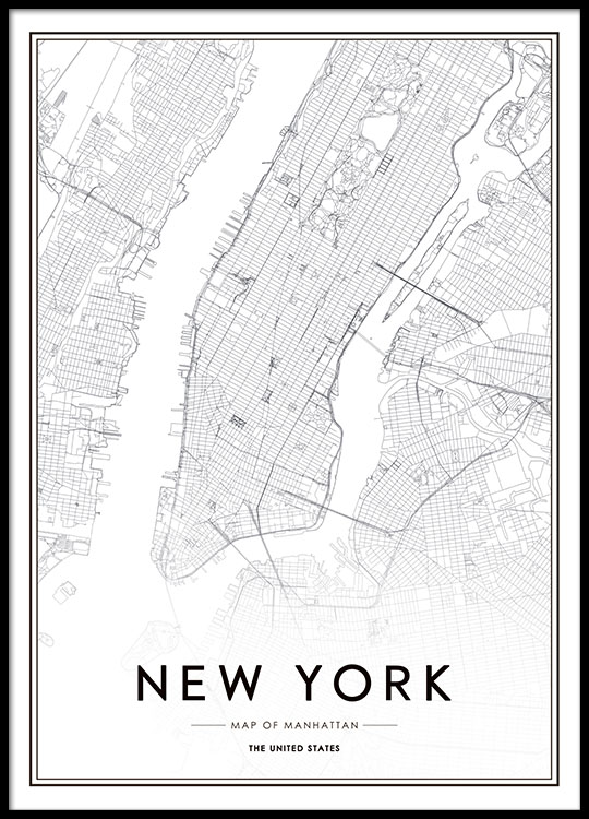 poster with new york map. Black Bedroom Furniture Sets. Home Design Ideas