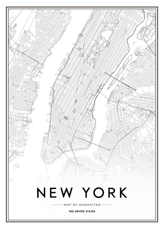 new york karta poster Poster with New York map | desenio.com new york karta poster