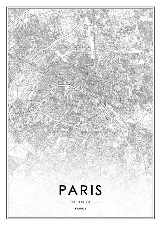 poster paris karta Print of Paris map | Black and white posters poster paris karta