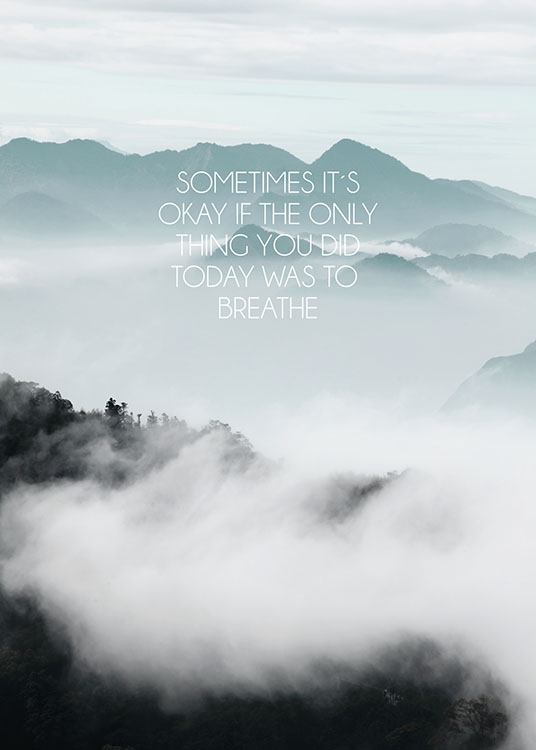Breathe  >> Typography Poster With Photo Art Mindfulness Poster Motivational
