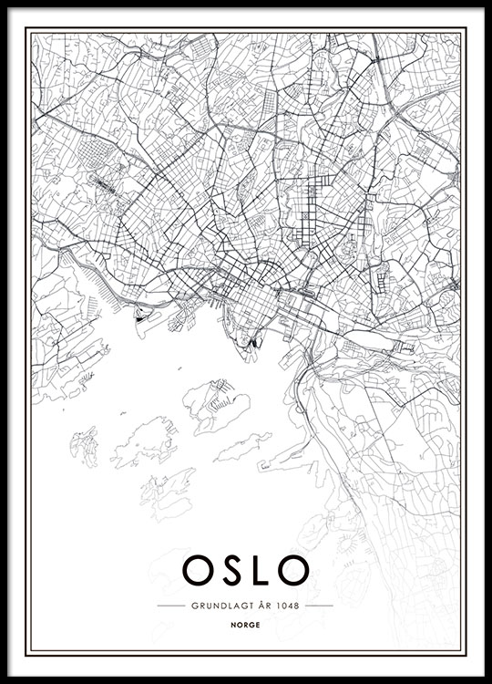 Oslo Poster With Map Black And White Poster With Map Of