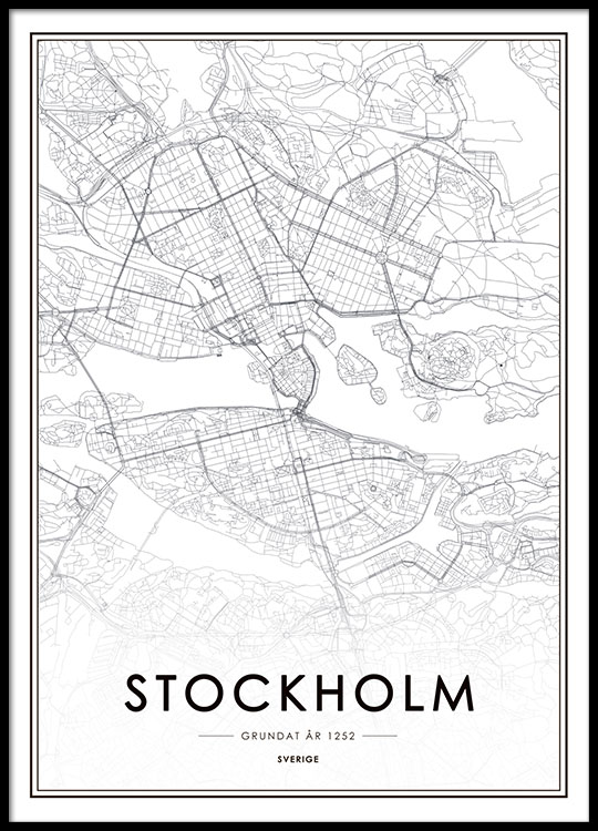 Stockholm map Black and white poster with a map of Stockholm Buy