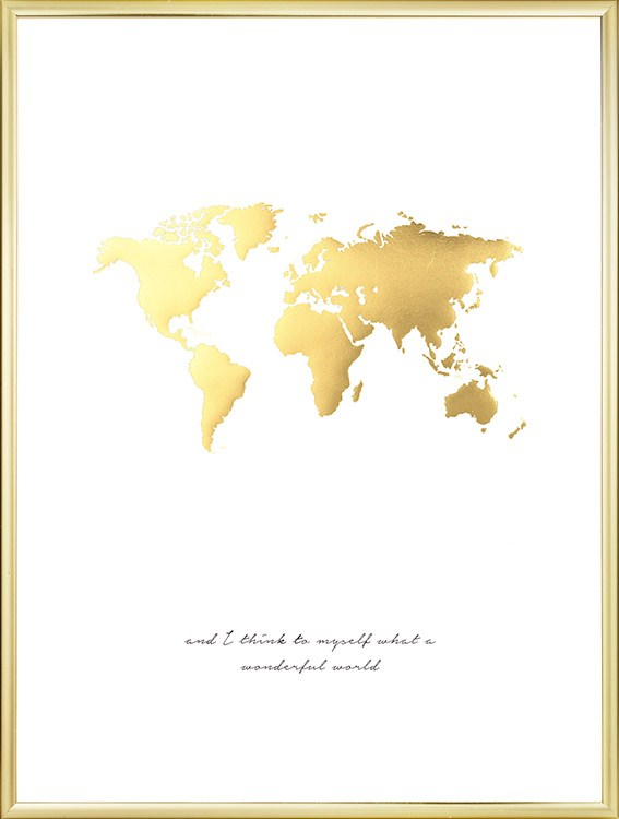 Poster of world map in gold poster with gold print stylish decor print with world map in gold and text nice for interior design in gold and gumiabroncs