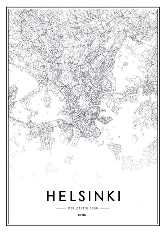 Poster With A Map Of Helsinki Black And White Posters Of Cities