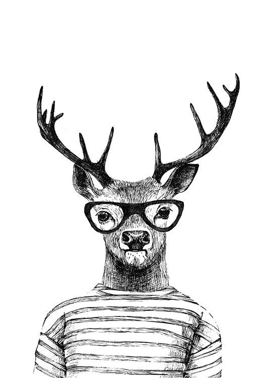 Deer With Glasses, Poster / Black & white at Desenio AB (8181)
