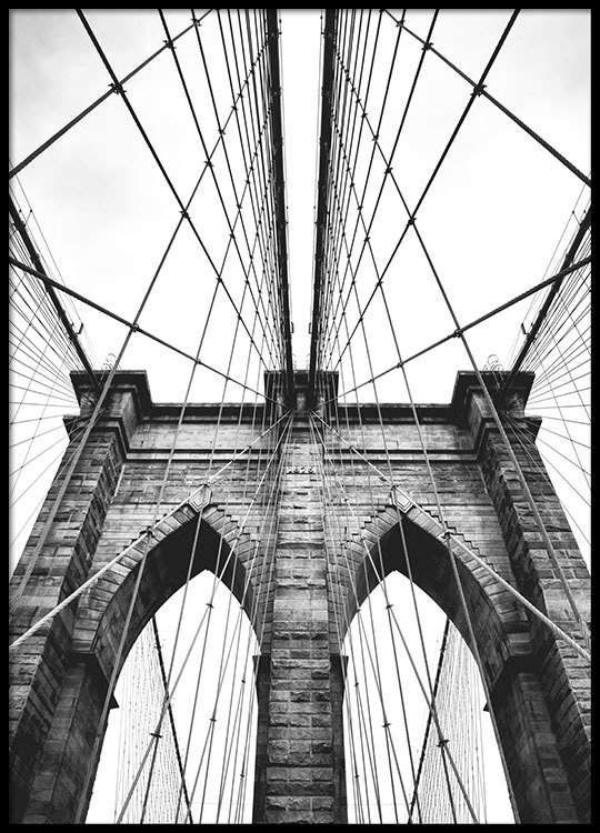 Poster with photo art brooklyn bridge posters with for Print architectural drawings