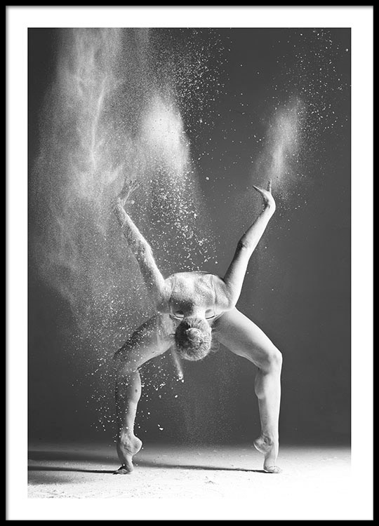 Prints with black and white photos of a dancing woman for graphic interior desig