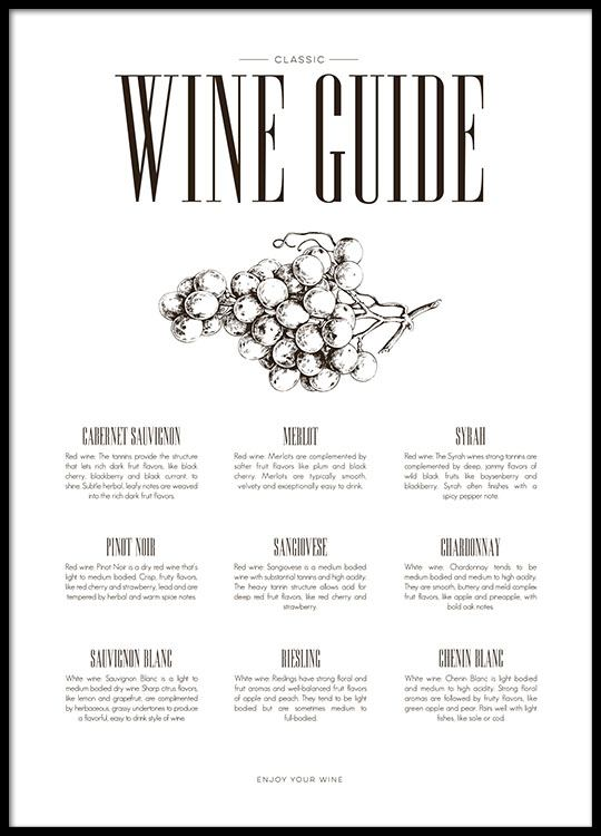 Kitchen poster with wine guide stylish black and white prints