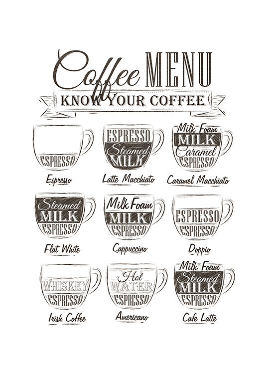 Coffee Menu, Poster / Black & white at Desenio AB (8237)