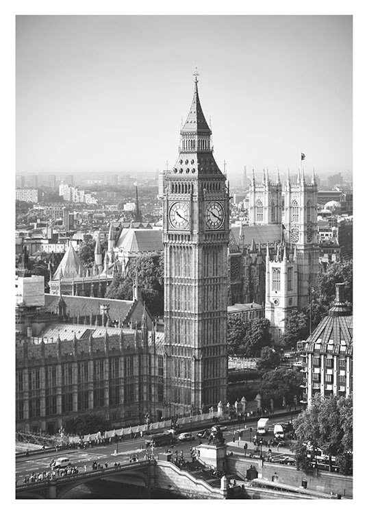 Big Ben, Poster / Black & white at Desenio AB (8240)