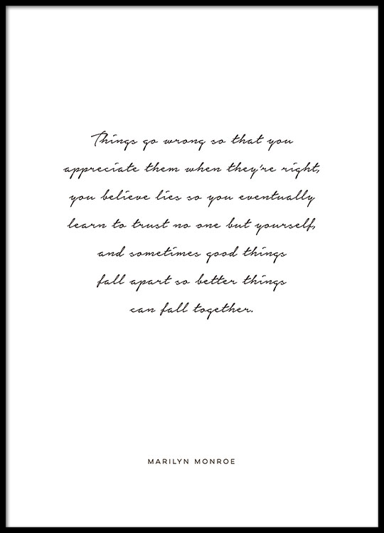 Black and white cursive typography prints and quote by marilyn monroe