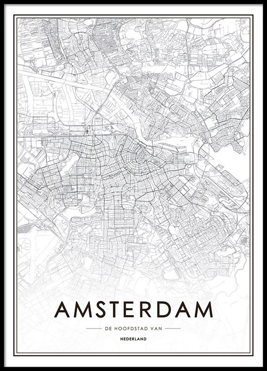 Poster with map of Amsterdam | Posters with cities on posters of maps, posters of language, posters of movies, posters of organizations, posters of nature, posters of animals, posters of cityscapes, posters of culture, posters of travel, posters of destinations, posters of communities, posters of libraries, posters of companies, posters of technology, posters of media, posters of love, posters of women's suffrage, posters of oceans, posters of space, posters of science,