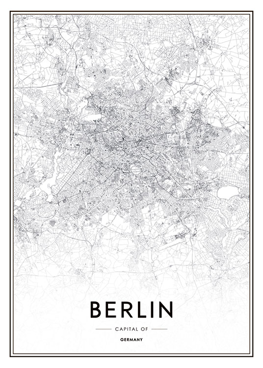 black and white poster with a map of berlin posters with maps and cities. Black Bedroom Furniture Sets. Home Design Ideas