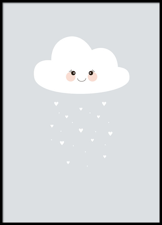 Attirant Blue Poster For Kids Room Of A Cloud, Cute Kids Posters