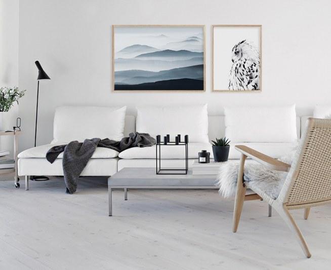 Photo poster with a white owl  Scandinavian Prints  Desenio