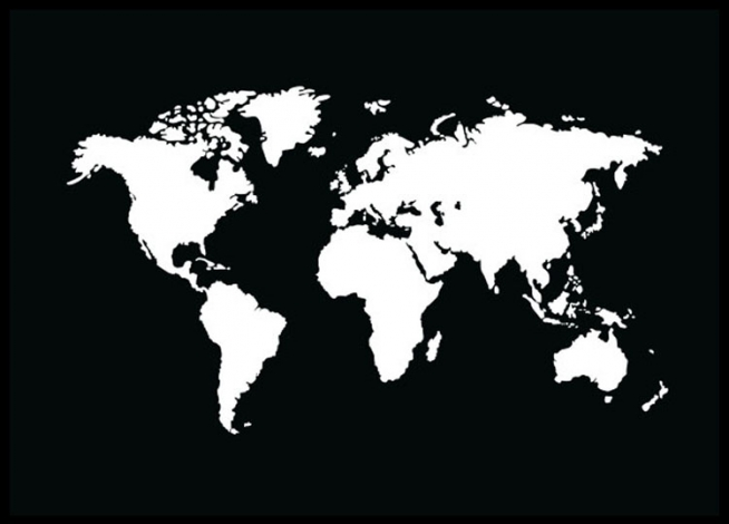 World map poster in black and white, from Desenio