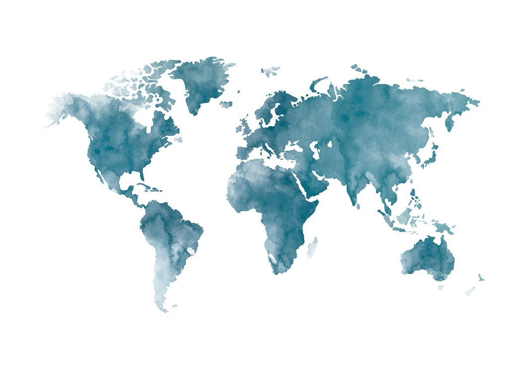 World Map Poster In Blue Aquarelle From Deseniocom - Global map poster