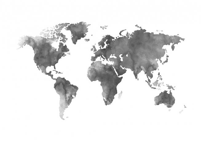 World map grey watercolor poster - Pinterest weltkarte ...