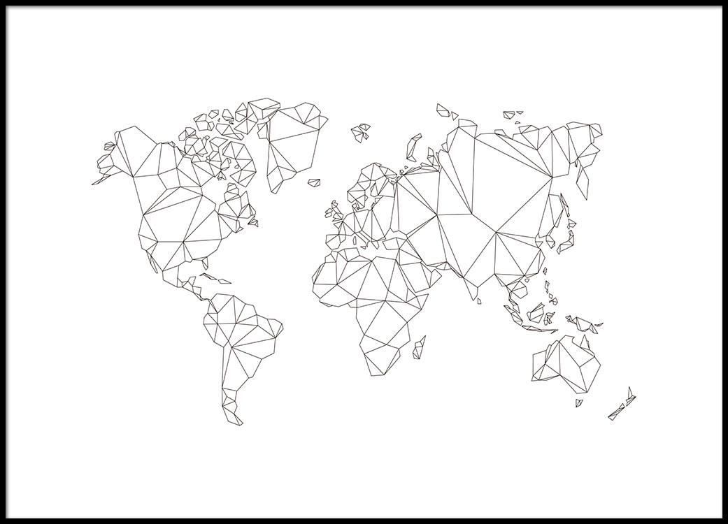 World Map Poster In Polygon Style From Desenio - Black white world map