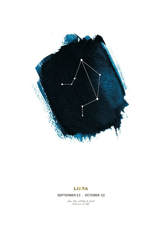 – The Libra zodiac sign against a blue shape with text at the bottom