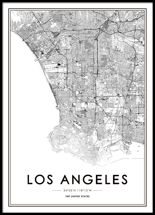 Poster Of Usa Map.Los Angeles Map Poster