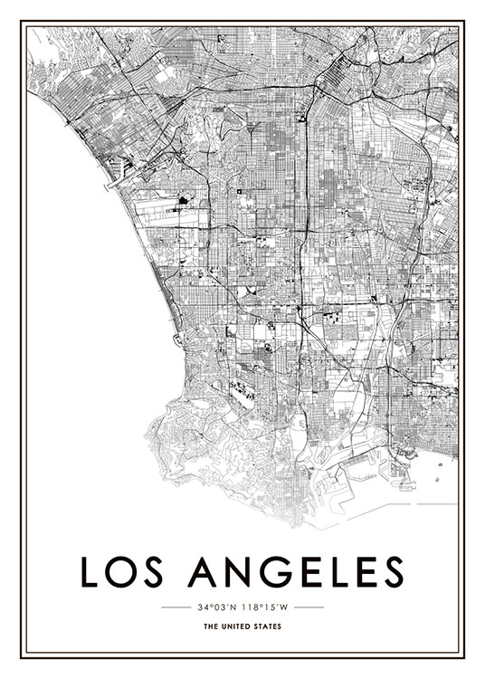 Los Angeles Map Poster / Black & white at Desenio AB (8718)