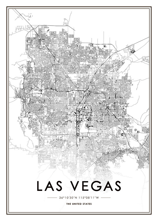 Las Vegas Map Poster / Black & white at Desenio AB (8725)