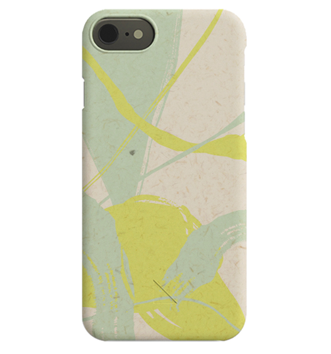 – Abstract iPhone case in uellow, beige and mint green