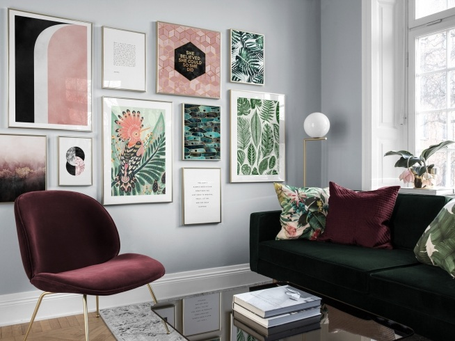 Picture wall inspiration for living room posters desenio - Living room design app ...