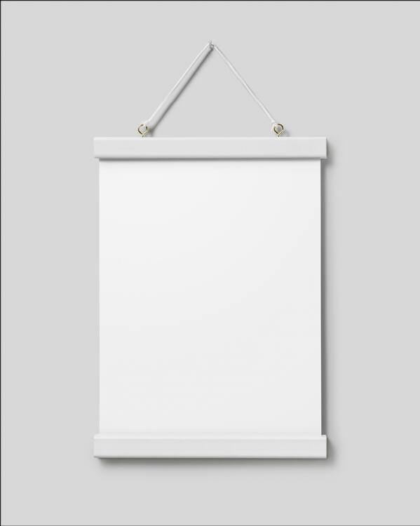 - White poster hanger with magnet fastening, 22 cm