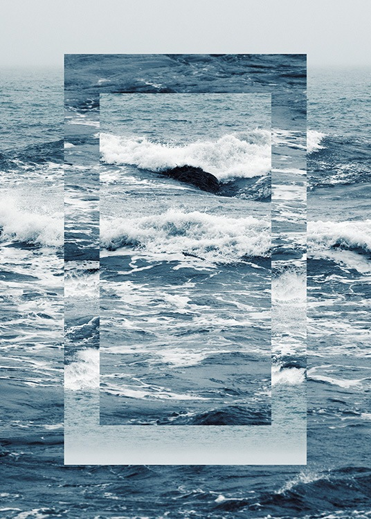 - Graphical photograph of a blue, stormy ocean with a rectangle in the centre