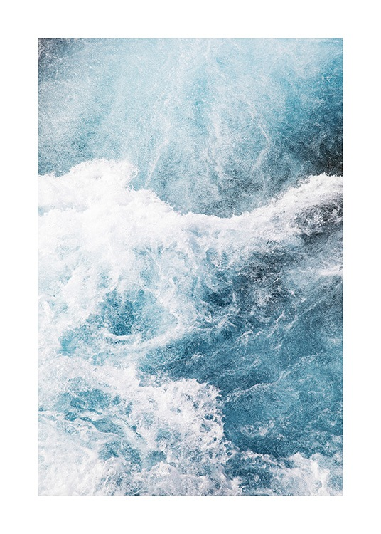 - Photograph with aerial view of a blue ocean with sea foam