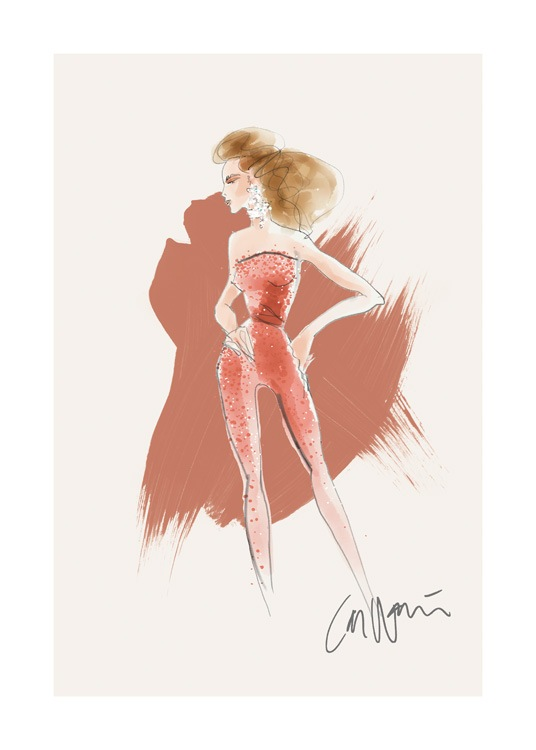 – Illustration of a woman standing in a red jumpsuit with pearls on it, on a beige background with red brush strokes