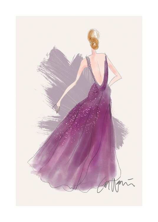 – Illustration of a woman wearing a purple gown with a deep back, and sequins on the skirt against a beige background