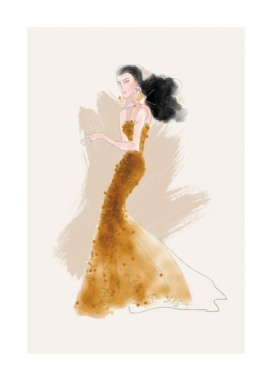 – Illustration of a woman in a dark yellow gown with sequin details against a beige background