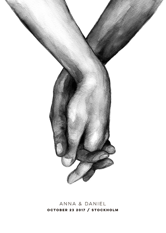 - Black and white watercolour painting of two entangled hands with text underneath to personalise